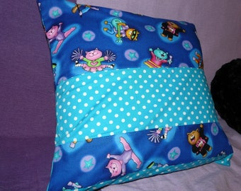 Salon 40x40cm Cushion cover: cats singing / blue and turquoise tones [Perspnnalisable with text]