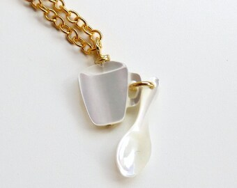 Fae - teacup and Spoon Necklace - Mother of Pearl - mother's day necklace - tea jewelry - teacup necklace