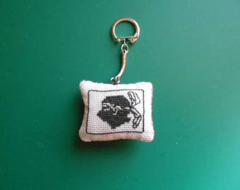 Embroidered canvas Keychain - Corsica