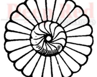 Deep Red Rubber Stamp Rosette Flower Medalion