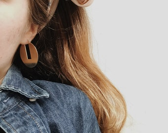 Gold Statement Earrings, Large Gold Earrings, Big Gold Hoops, Geometric Earrings, Large Simple Hoop Earring, Big Circle Earrings | SIGNAS