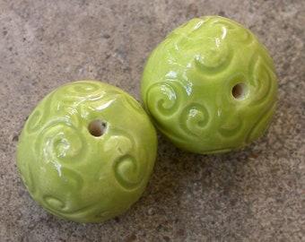 Round Ceramic Beads, Ceramic beads, Handmade Round Beads, green Beads, yellow green Beads, Lime green Beads, scroll beads, beads set