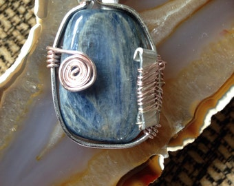 Blue Kyanite Wire Wrapped Pendant