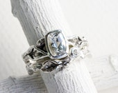 White Topaz,White Sapphire,Leaf Twig Engagement Rings, Silver Twig Ring Set