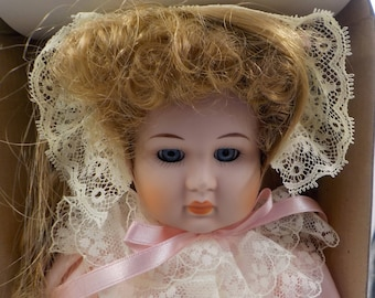 Porcelain Doll - Vintage with stand - NOS - In original Box - Excellent condition