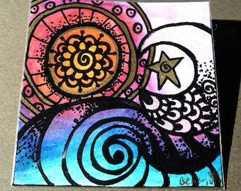 """Mixed-media on watercolor paper 3x3  """"Night and Day Sea"""" Sun and Moon Celestial"""