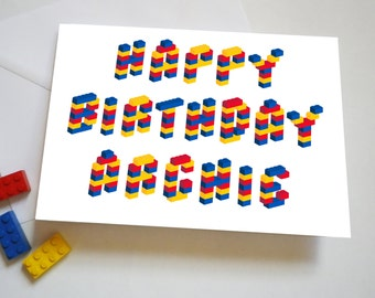 Personalised Building Brick Birthday Card