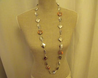 SALE NECKLACE beads silver black and orange