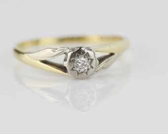 Yellow and White Metal Engagement Ring Single Diamond Solitaire Claw Set Ladies Ring Size UK L and US 5.75