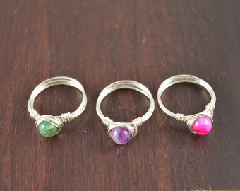 Agate Gemstone Wire Ring, Silver, Gold, or Rose Gold Ring, Geode Crystal Ring, Natural Ring, Wire Ring, Stacking Ring