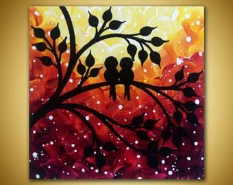 Love birds Painting, Mini Canvas art, Sunset Painting, Original Mini painting, Love birds art, small canvas art, Purple sunset art, Love art