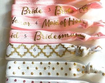 Choose Your Own-Light Pink & White Bridal/Bridal Party Hair Tie Set-Pick 6 hair ties, Wedding, Bridal Hair TIes, Bride Tribe, Team Bride
