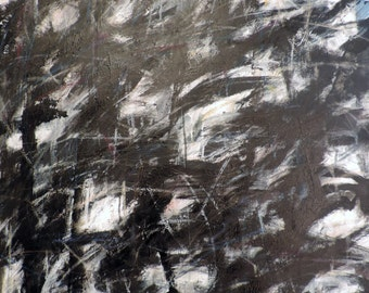 Black, 8-15-15 (2.5' x 3'  abstract expressionist painting on canvas, black, white, cream, gray, red, blue, silver)