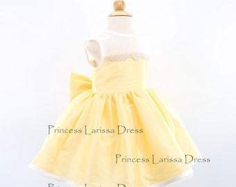 Fancy Yellow Sashless Toddler Pageant Dress, Flower Girl Dress, Baby Birthday Dress,PD042-2
