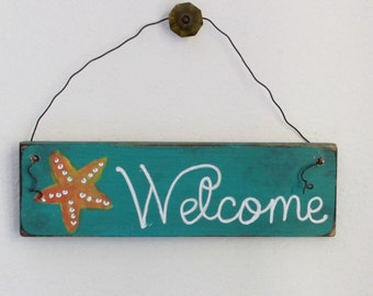 beach welcome sign, starfish sign, beach house decor, beach family sign, coastal decor sign, fun welcome sign