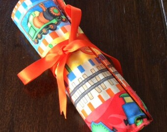 Handmade Train Quilted Pencil Roll-up.Pencil Organizer.Gift.Travel Pencil Roll.Pencils Included.Patchwork.Pencil Case.