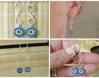Handmade Sunflower Dangle Earrings Floral Motif - Polymer Clay and Silver Jewelry for Women
