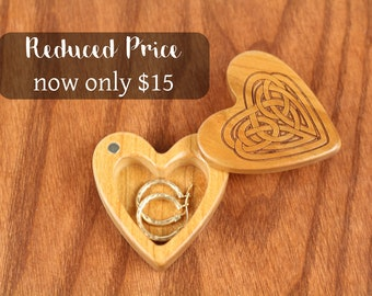 DISCONTINUED - REDUCED PRICE Heart Shaped Box, Celtic Knot, Engagement, Slender 2-1/4