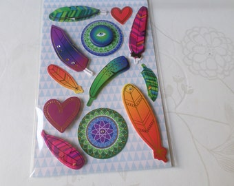 x 1 Board of 12 mixed stickers tickers 3D pattern plumesmulticolore