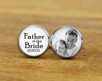 Father Of The Bride Cufflinks, Custom Any Text, Photo, Personalized Cuff Links, Custom Wedding Cuff Links, Groom Cuff Links, Tie Clips, Set