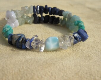Blues Blocker Bracelet, Cheer me up! Larimar, Aquamarine, Dumorite, Lapis Lazuli, Amazonite, Blue Lace Agate, Sodalite,Quartz Healing stones