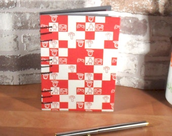 Notebook A6 mosaics red white / / blank / / journal / / gift / / memories / / secret Santa