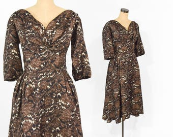 50s Floral Party Dress | Brown Black Feather Print Pleated New Look Dress | Large