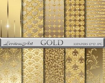 Gold digital paper Glitter digital paper Gold backgrounds Gold damask digital paper Glitter background Sparkling background for scrapbooking