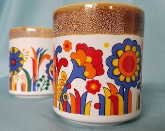 Pair of 70's RETRO Ceramic Mugs