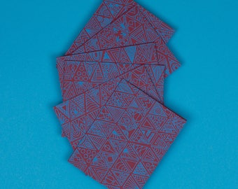 Patterned Note Cards | Set of 6, A2, Turquoise, Burgundy, Triangles, Blank, Hand Printed, Note Card Set, Unique Stationery, With Envelopes