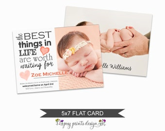 Birth Announcement Card Template - Adoption Announcement - Photoshop File for Photographers - AC01 - DOWNLOAD OR Printable