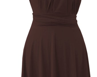 Convertible dress in  brown color  short straight hem Bridesmaid  dress with matching tube top