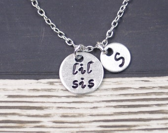 SALE Lil Sis necklace, hand stamped necklace, initial necklace, personalized gift for Lil Sister, sisters jewelry, for sister, sister gift