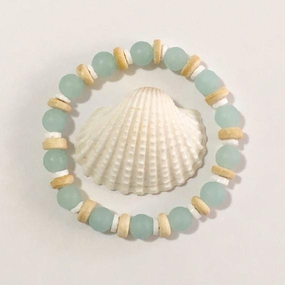 beach jewelry, cultured sea glass bracelet