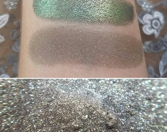 Phoenix Fire - Color Shifting Green & Gold with a Grey-Black Base, Mineral Makeup, Mineral Eyeshadow, Vegan