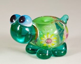 Summer Green Flower Turtle Lampwork Bead