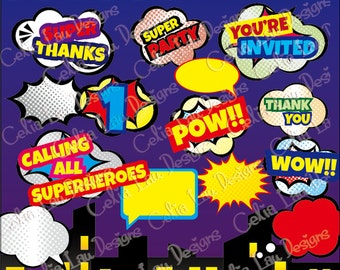 Super Hero Pop art Text Clipart 2 (S013),Superhero clipart / comic book style super hero clip art /Super Hero bubble / INSTANT DOWNLOAD