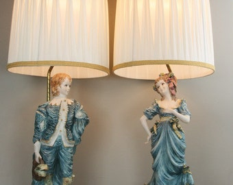 Pair Hollywood Regency Capodimonte Lamps, Azzolin 18th Century Figurines, 1964, Italian Lamps, Tall Capodimonte Lamps
