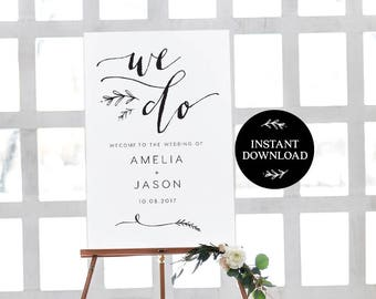 Welcome Sign INSTANT DOWNLOAD Editable PDF, Welcome to Our Wedding Sign, Wedding Welcome Sign - Lilly