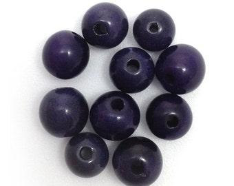Tagua beads, dark blue, 5mm, 10 pieces, beads ru