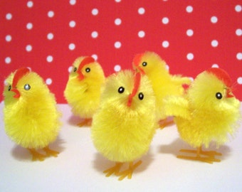 5 Adorable yellow Chenille Chicks