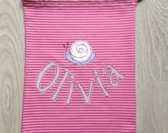 Pink shoulder bag, stripes cotton bag for children, drawstring bag for school and kindergarten with customizable name