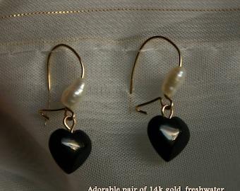 Lovely Heart Shaped Onyx and Freshwater Pearl dangle earrings in 14k