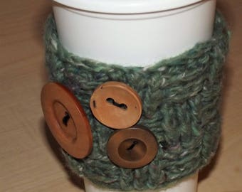 Trio of Buttons Coffee Cup Cozy