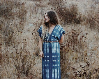 Indigo shibori dress kaftan cotton bohemian hippie festival dress