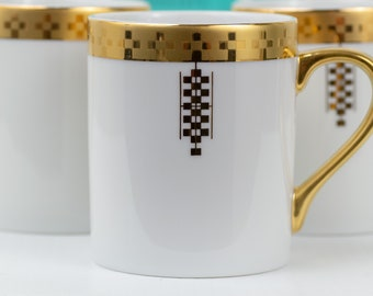 1992 Tiffany & Co Frank Lloyd Wright White Gold Trimmed Imperial Mug // Unique Gift, Wedding Table, Collectibles