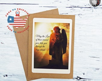 Angelic Sympathy Greeting Card- May the Love of Those Around you, Help you Through the Days Ahead- Kraft Card Stock- FREE US SHIPPING
