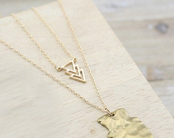 Double Chain Arrowhead and Triple Triangle Pendant on a Gold Necklace - Australian Seller