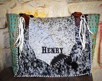 gator name embroidery cowhide bag