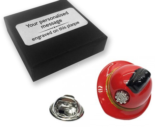 Fire, helmet, fireman, lapel pin badge, tie pin, brooch accessory, boutonniere - personalised engraved gift box - 832